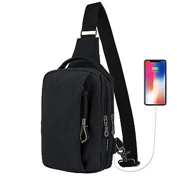 Pecho Mochila con Puerto de Carga USB, Bolso Pecho Casual bandolera hombro triángulo paquetes Daypacks