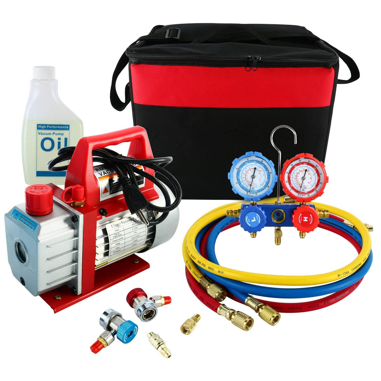 YaeKoo 3CFM 1/4HP Rotary Vance Air Vacuum Pump HVAC A/C Refrigeration Kit AC Manifold Gauge Set R134A R12 R22 R404A R410A with Carrying Case