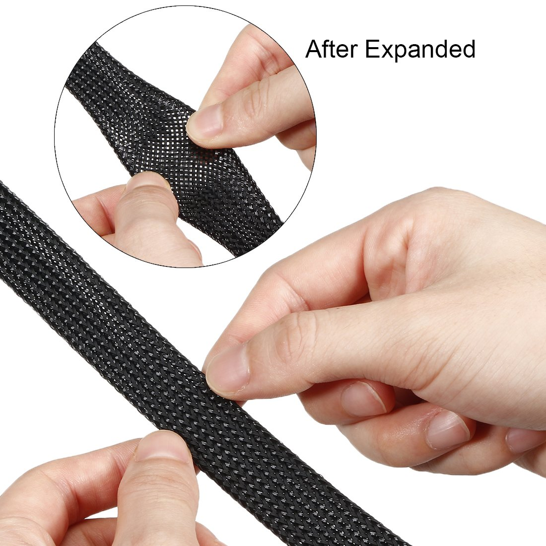 sourcing map 3 Meters PET Expandable Braided Sleeving 9.84ft 6mm Dia Cable Management Sleeve Cord Organizer Black