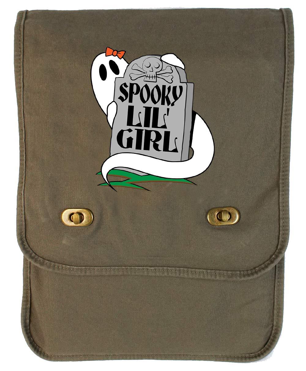 Tenacitee Spooky Lil Girl Khaki Green Raw Edge Canvas Messenger Bag