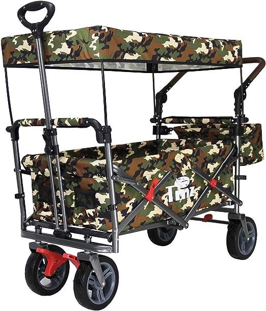 TMZ - Carro plegable de jardín, carrito plegable para compras, camping y actividades al aire libre con toldo, asa de empuje y frenos (CAMO): Amazon.es: Jardín