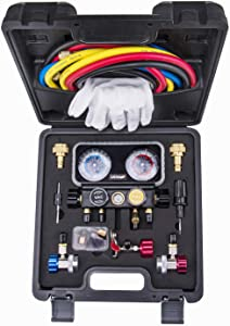 Lichamp AC R1234YF R134A Gauge Set, Automotive 4 Valve Manifold Gauge Compatible with R1234YF R134A and R404A Refrigerants, Works on Car Freon Charging and Evacuation