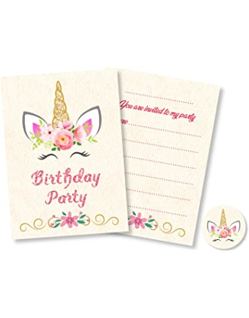 12 X Unicorn Birthday Party Invitations With Pink Envelopes Stickers Coloured