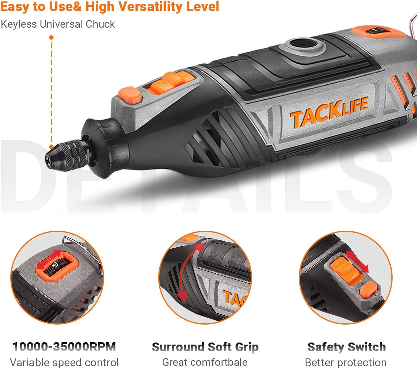Variable Speed and Powerful Motor Perfect for Crafting and DIY Projects RTSL50AC TACKLIFE Rotary Tool Kit with MultiPro Keyless Chuck and 150 Pcs Accessories and Flex Shaft