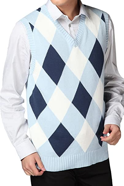 aea38dd60 JOKHOO Men s Argyle V-Neck Sweater Vest at Amazon Men s Clothing store