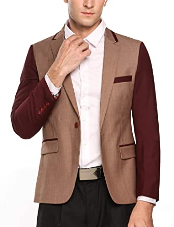 new product fc5a8 c6951 COOFANDY Mens Slim Fit Casual One Button Blazer Jacket (Small, Brown3)