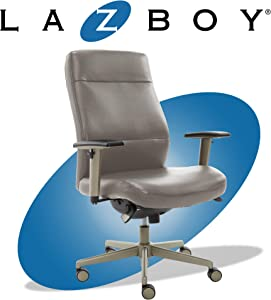 La-Z-Boy Baylor Modern Executive Office Chair, Adjustable Ergonomic Lumbar Support, Grey