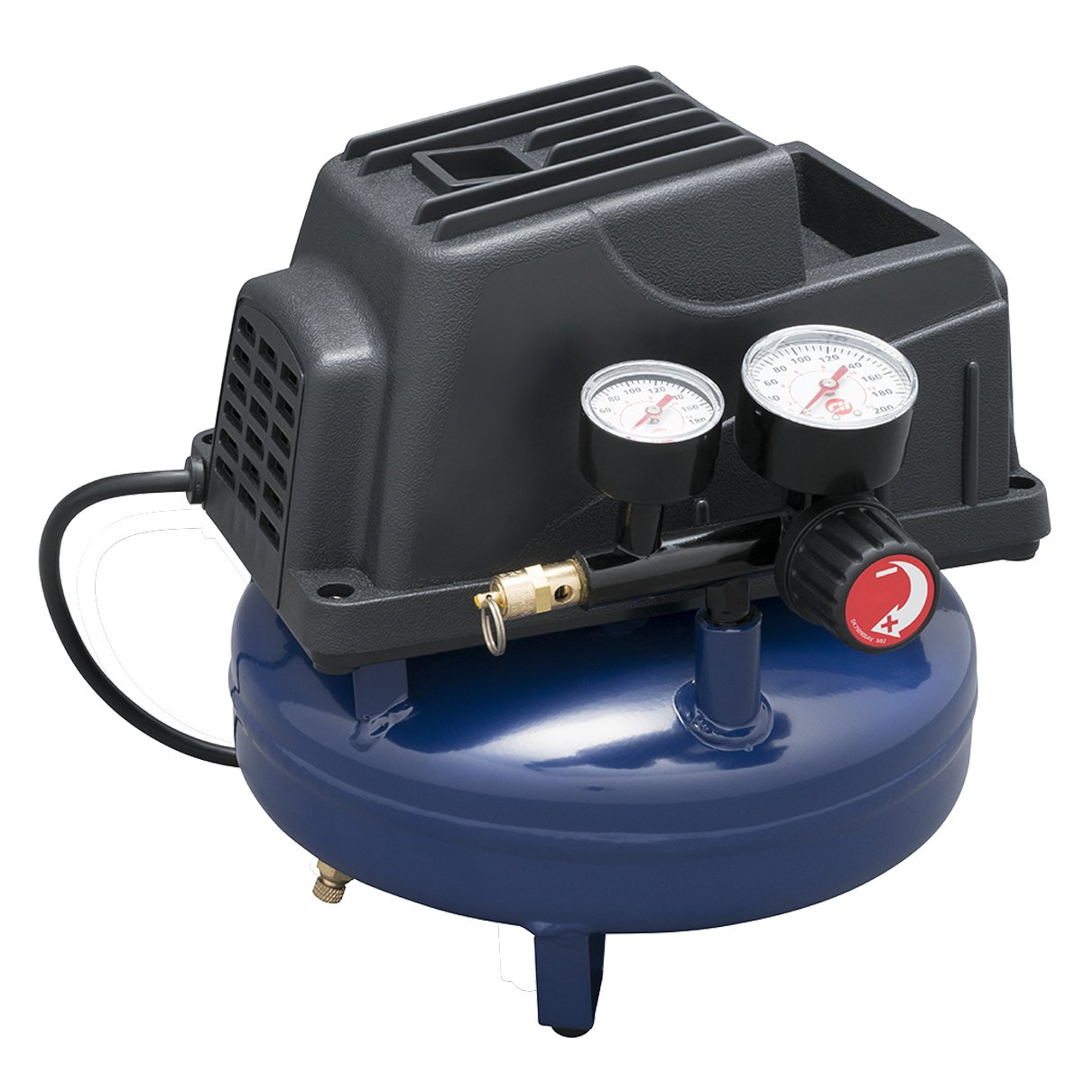 Air Compressor, 1 Gallon, Pancake, Oilless Pump, 110 PSI w/ Recoil Air Hose  & Inflation Kit (Campbell Hausfeld FP2028) - Pancake Tank Air Compressors  ...
