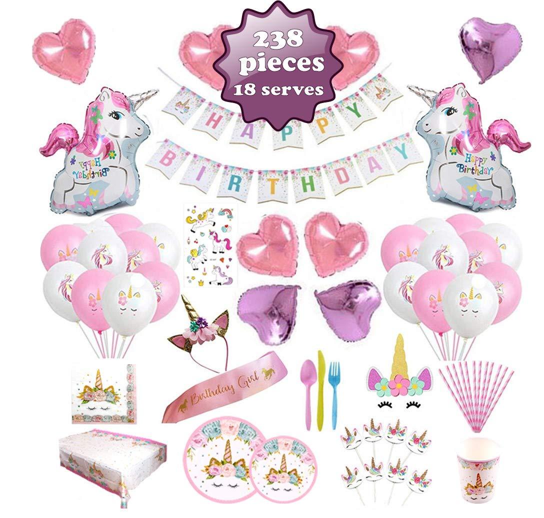 Unicorn Party Supplies set - 238 PCS - 18 Serves   Unicorn Decoration   Tableware   Favors   Balloons   Free Bonus by NULLA