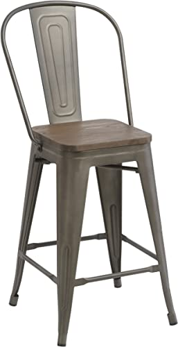 BTEXPERT Industrial Metal Vintage Antique Rustic Distressed Dining Counter Height Bar Stool, 24 , Copper Bronze