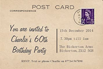 70 Personalised Scottish Postcard Party Invitations