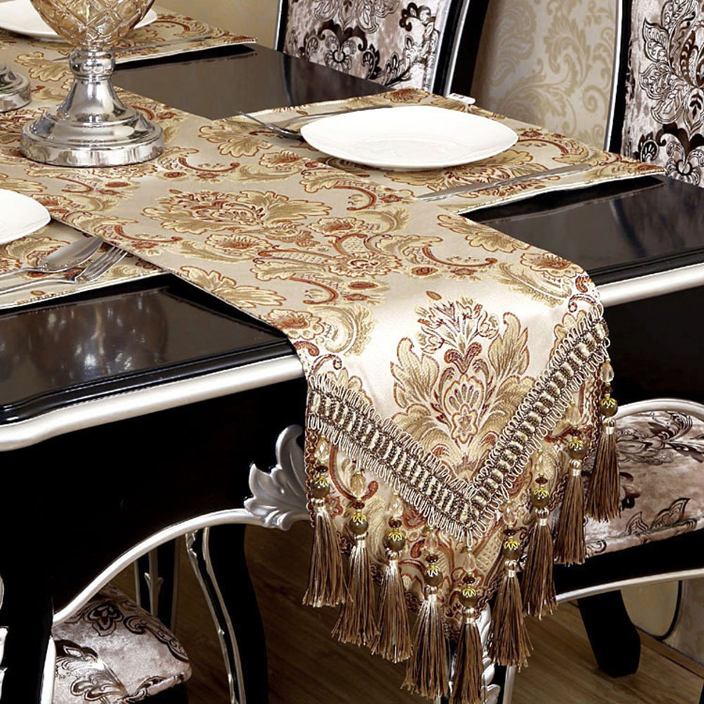 Modern Luxury Champagne Jacquard Floral Tassel Table Runner