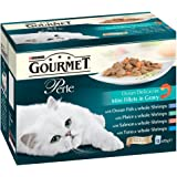 Purina Gourmet Perle Wet Cat Food Mini Fillets in Gravy, 12 x 85 g - Ocean Delicacies (Pack of 4)
