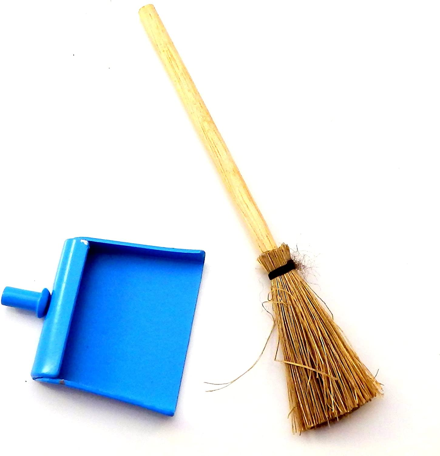 Dolls House Miniature Broom And Dustpan With Metal Handles