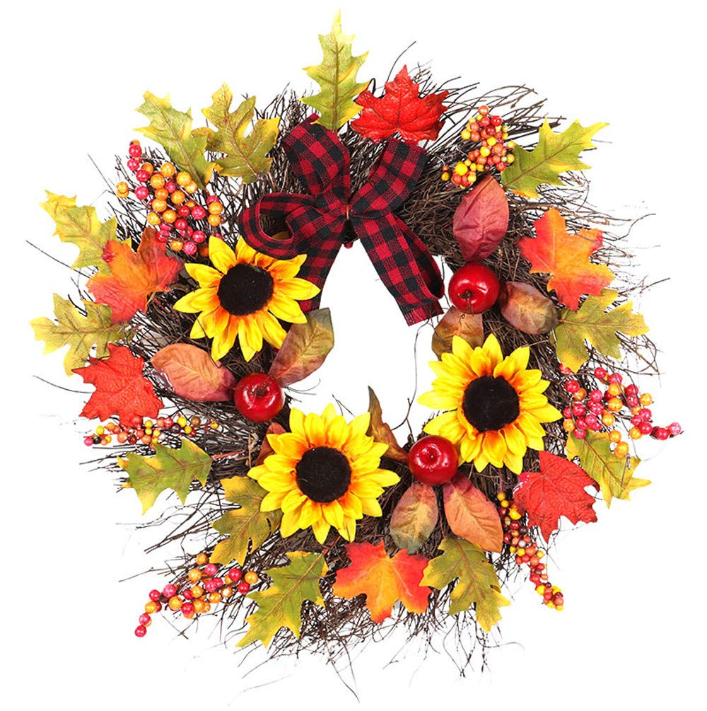 Halloween Christmas Decoration Hand-Made Rattan Wreath 17.7Inch Sunflower Berry Maple Leaf Fall Door Wreath Door Wall Ornament for Home Church Party Wedding Decoration