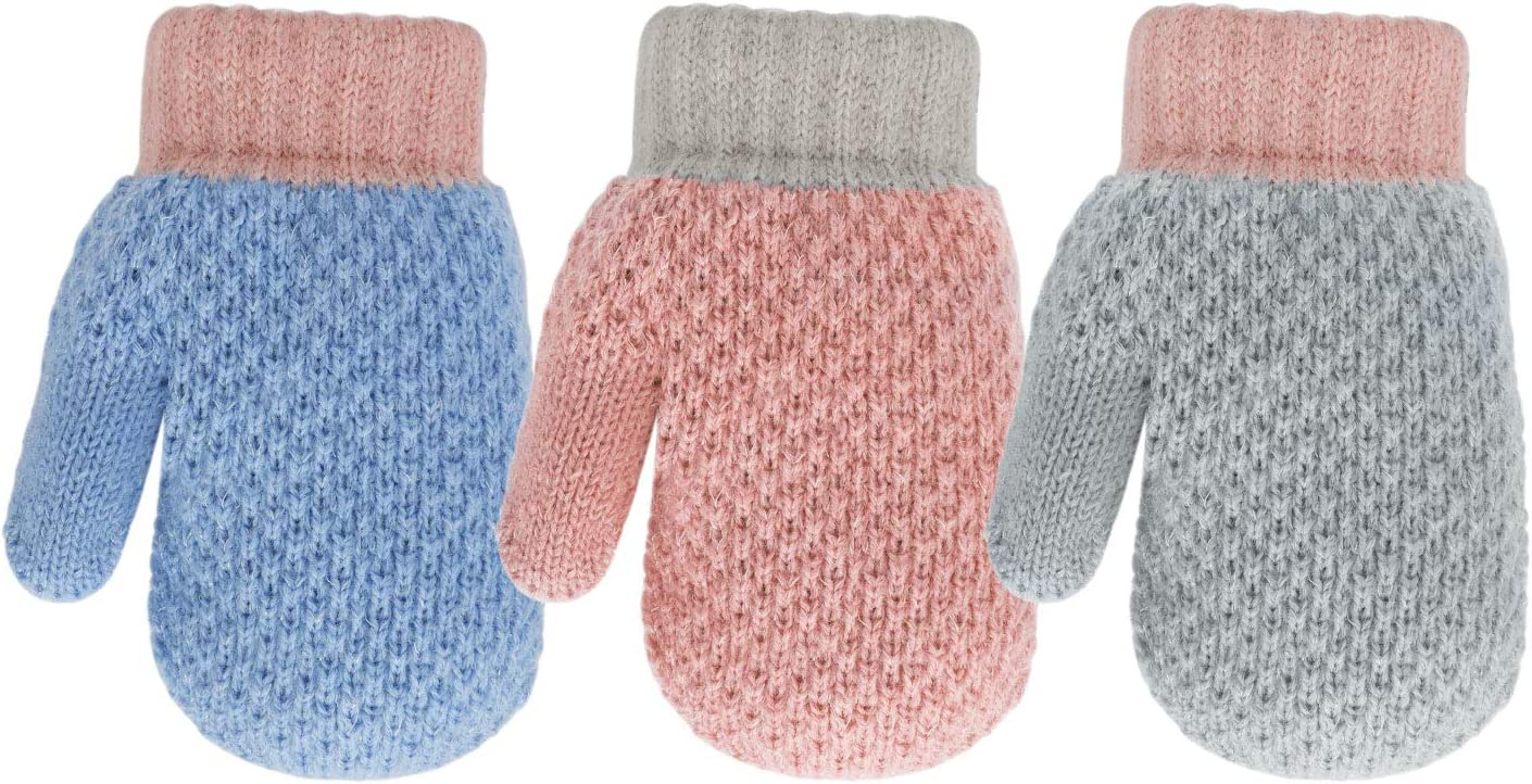 TAGVO 2 Pairs Unisex Kids Winter Mittens,Full Finger Wrist Gloves With Rope,Adorable Rabbit&Bear Pattern Hanging Neck Mittens,Thermal Fluffy Fleece Inside,Split Palm,Aged 5-7Y