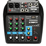 Muslady TU04 BT Sound Mixing Console Record 48V Phantom Power Monitor AUX Paths Plus Effects 4 Channels Audio Mixer with…