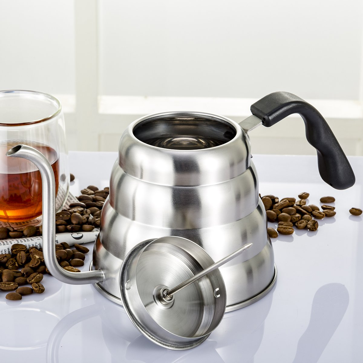 Coffee Kettle with Thermometer for Exact Temperature, 1.2Liter(41floz), Gooseneck Drip Kettle for Coffee, Tea, Home Brewing, Camping and Traveling by ECPURCHASE by ECPURCHASE (Image #6)