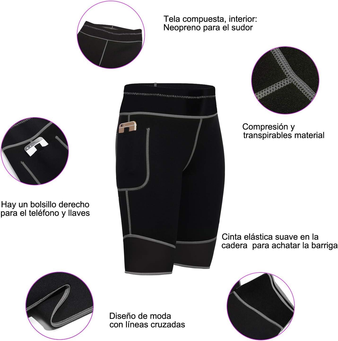 Bingrong Pantalones para Adelgazar Mujer Pantal/ón de Sudoraci/ón Adelgazar Pantalones Cortos de Neopreno t/érmicos para Ejercicio para P/érdida de Peso Deportivo