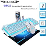 dc370f2008a FELICON Gaming Keyboard Mouse Combo Sets S 101 104 Keys Wired Blue LED  Backlit Metal Panel