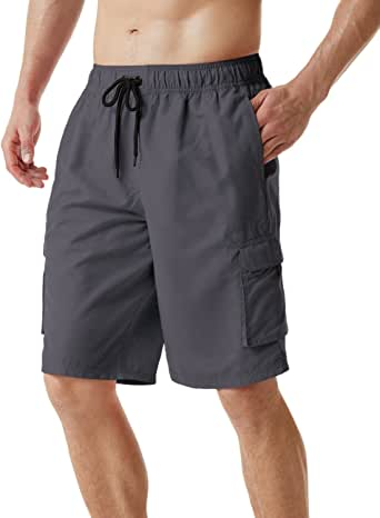 TSLA Men's 6 Inches/11 Inches Swim Trunks Quick Dry Beach Swimming Board Shorts, Bathing Suits with Inner Mesh Lining and Pockets