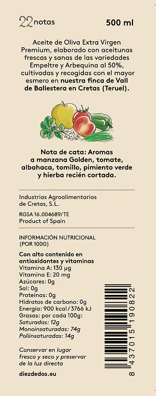 Aceite de Oliva Virgen Extra Premium 22notas - Caja variada de 6 botellas de 500 ml (pack de 6) Con 3 botellas de Coupage Intenso y 3 botellas de Coupage ...