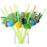ALINK 50 Coconut Tree Drinking Straws, Hawaiian Beach Cocktail Luau Party Decorations Supplies