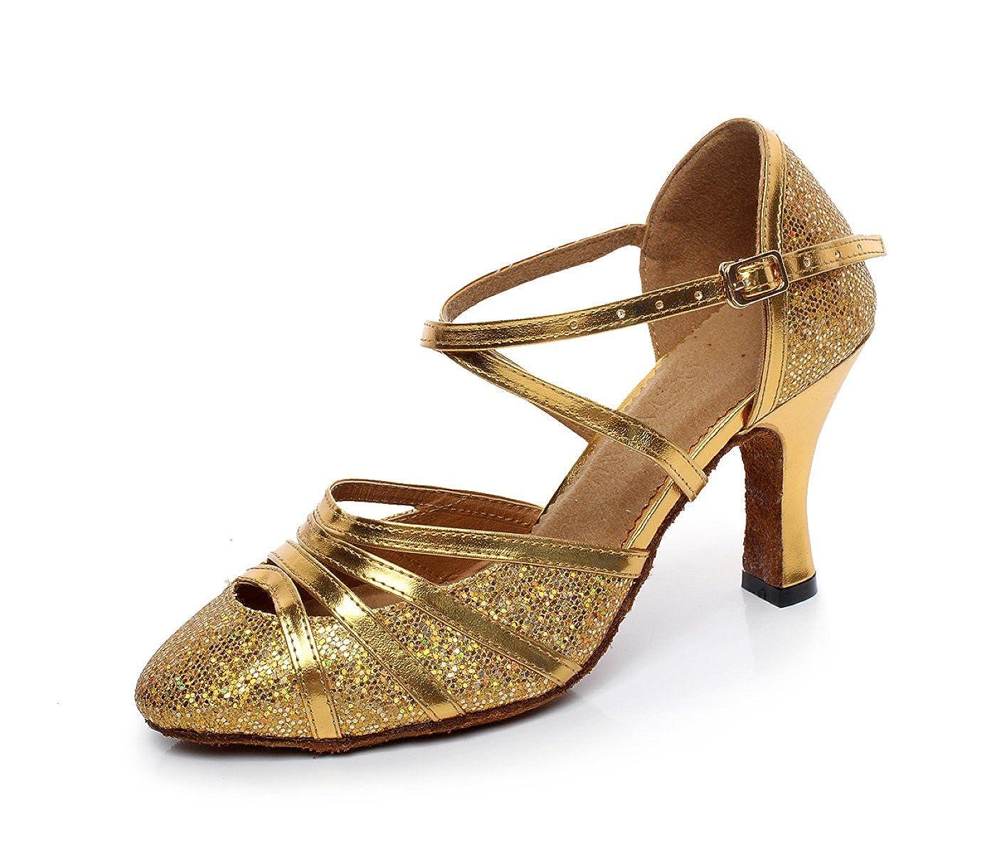 JSHOE Womens Fermé Toe Talon Haut 13980 PU Danse Cuir Chaussures Paillettes Salsa Tango Ballroom Chaussures De Danse Latine,Gold-heeled6cm-UK5.5/EU38/Our39 - 16691f6 - jessicalock.space