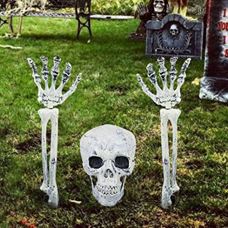 Halloween Skull Decorations.Myfamirea Skeleton Bones Skull Halloween Skull And Skeleton Favor Halloween Outdoor Decorations For Garden Lawn Party Decoration Props Realistic Skeleton Stakes Halloween Decor Amazon In Garden Outdoors