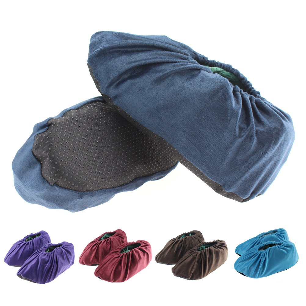 CREATRILL 5 Pairs Non Slip Washable Reusable Shoe Covers for Household Boot Covers, Claret Red/ Purple/ Coffee/ Grey/ Navy Blue