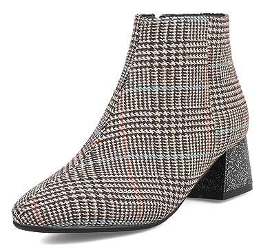 Aisun Femme Mode Carreaux Bout Carré Low Boots Hiver Bottines Brun 32 EU 2636c8c2701e
