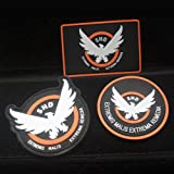 3pcs AIRSOFT -GAME -COSPLAY THE DIVISION SHD RUBBER 3D PVC BADGE MORCLA VELCRO PATCH