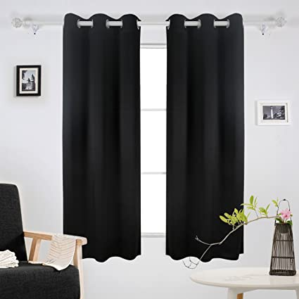 Superior Deconovo Thermal Insulated Curtain Grommet Room Darkening Blackout Curtains  For Windows 42x63 Inch Black 2 Panels