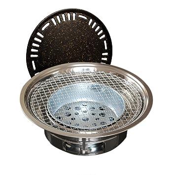 YS-SKJ Parrilla Redonda de carbón Cocina para el hogar Estufa de Barbacoa Comercial Placa de carbón de carbón de leña Olla de Carne de Barbacoa: Amazon.es: ...