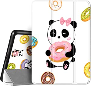 Hepix Cute Panda iPad 8th / 7th Generation Case with Pencil Holder for Girl Women, iPad 10.2 Case White Cartoon Animal Eat Donuts Protective Shockproof Cover Auto Sleep Wake for A2270 A2428 A2429