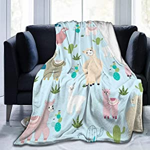 "Alpaca Llama Cute Cactus Flannel Throw Blanket, Ultra Soft Lightweight Microfiber Fleece Blanket Perfect for Couch Sofa Bed S (50""x40"")"
