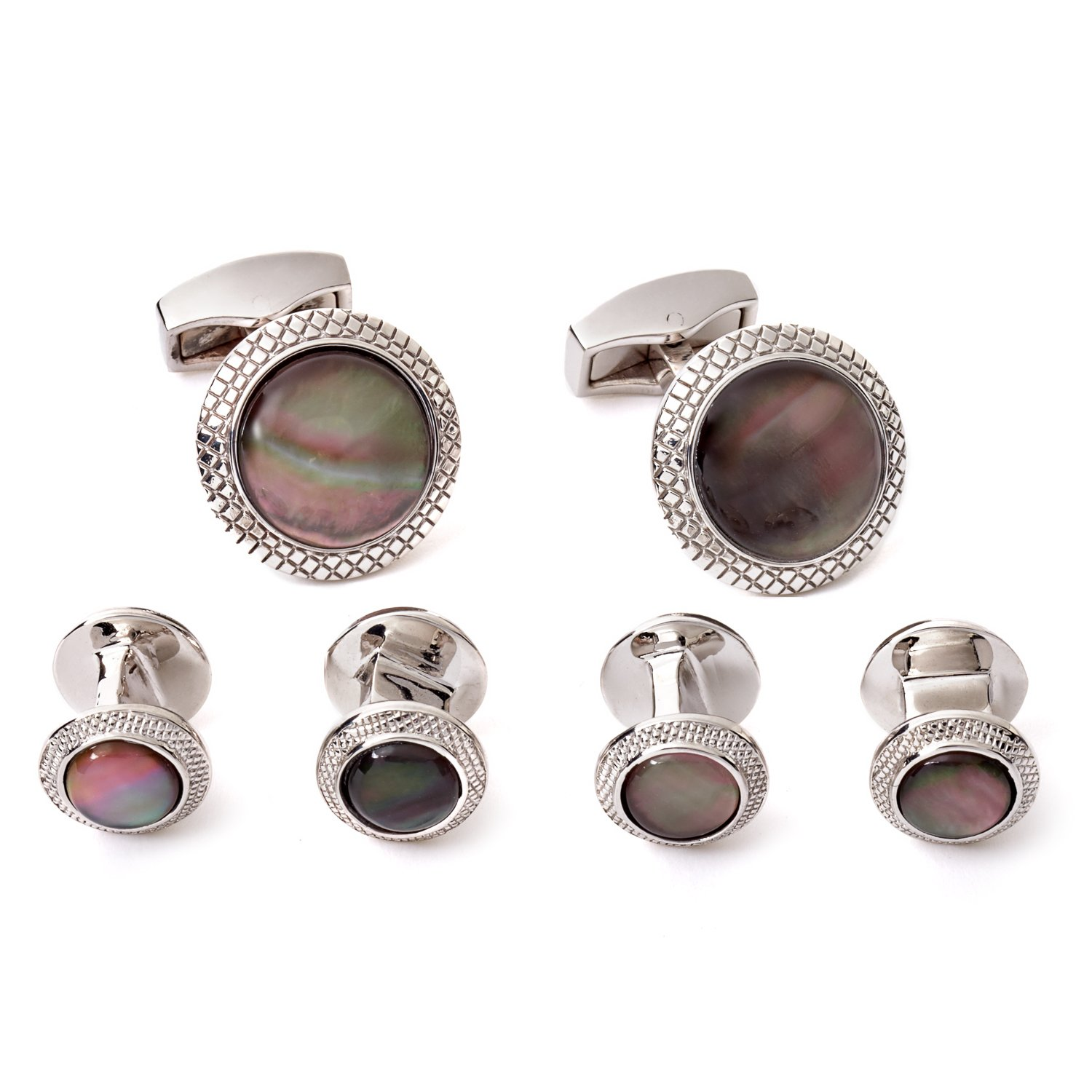 Tateossian Black Mother of Pearl Shirt Studs Cufflink Set with Rhodium Silver Case CL0233