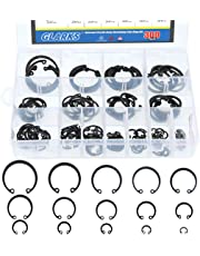 Glarks 300Pcs 15 Size Metric Internal Circlips Snap Retaining Ring Assortment Kit, Black Alloy Steel