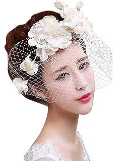 05c84745111a GEMVIE Épingle à Cheveux Accessoire Mariage Fleur Voile Dentelle Perle Faux  Casque