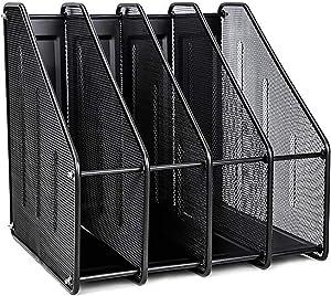 VANRA 4 Sort File Sorter Organizer Metal Mesh Desktop Document Magazine Holder Vertical Upright Sections, Black