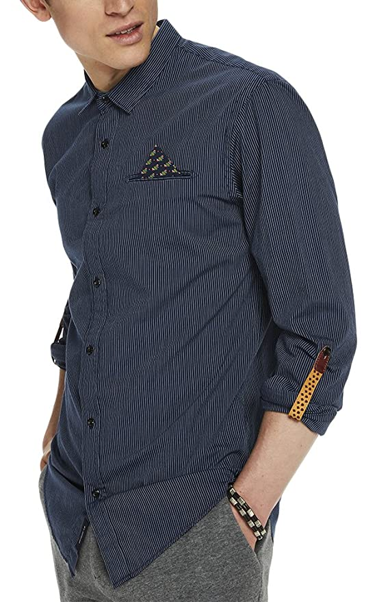 Regular Fit Chambray Shirt, Camisa para Hombre, Azul (Combo a 0217), XX-Large Scotch & Soda