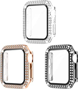 Recoppa 3 Pack Compatible for Apple Watch Case 38mm with Screen Protector, Bling Cover Double Diamonds Rhinestone Bumper Protective Frame for iWatch Series 3/2/1 Girl Women 38mm