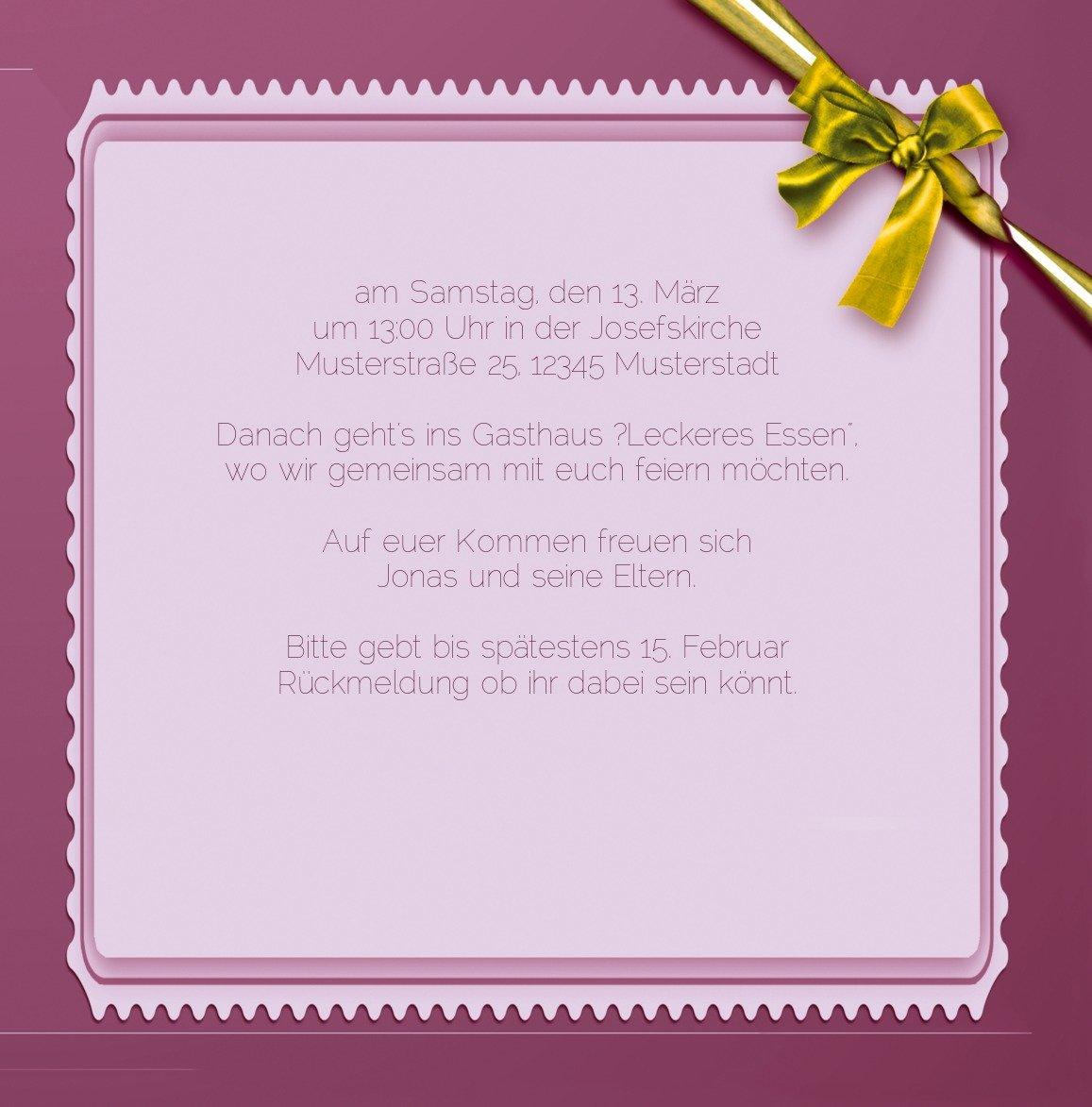 Kartenparadies Einladungskarte Taufeinladung Taufkarte Ribbon, hochwertige Einladung zur Taufe inklusive inklusive inklusive Umschläge   10 Karten - (Format  145x145 mm) Farbe  Rosalila B01N5V8PKS | Kompletter Spezifikationsbereich  | Verschiedene Arten und Stile  | S 272d36