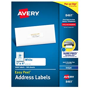 """Avery Address Labels with Sure Feed for Inkjet Printers, 1"""" x 4"""", 2,000 Labels, Permanent Adhesive (8461)"""