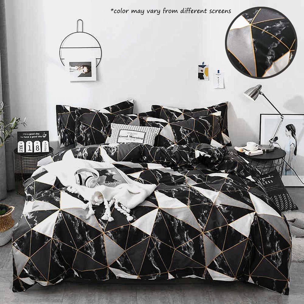 Jumeey Marble Bedding Queen Set Black Abstract Boys Comforter Sets for Full Size Bed Geometric Triangle Cotton Duvet Cover Set for Man Woman,3 PCS Bedding Set with 2 Pillow Shams,Soft