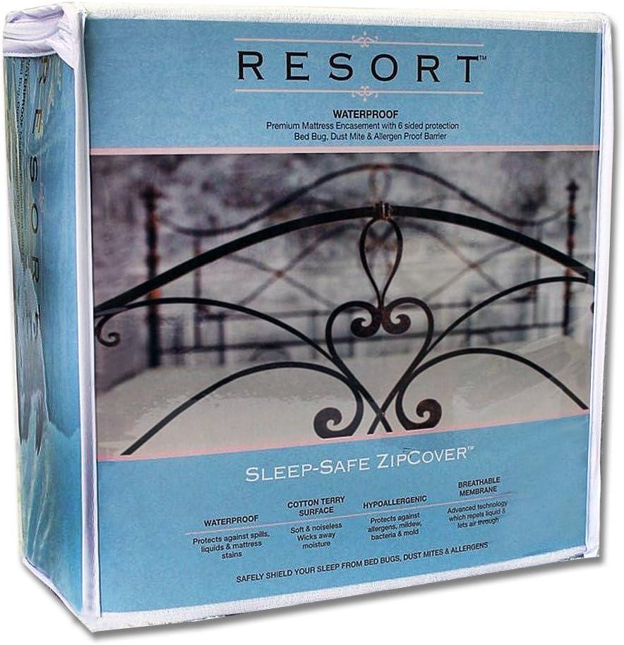 Cal King 12 Sleep Safe ZipCover Resort Waterproof Mattress Protector Dust Mite /& Bed Bug Proof Encasement Cover