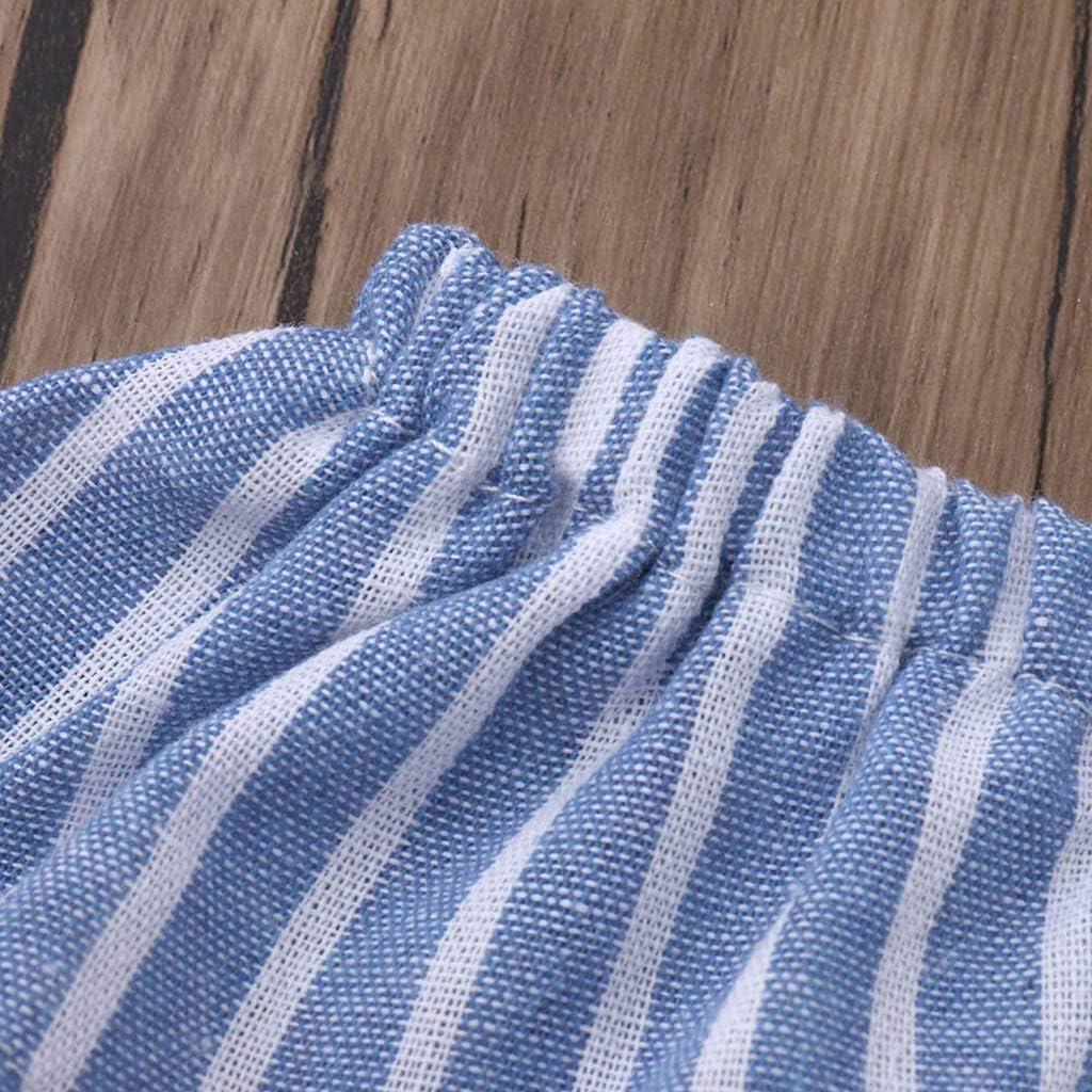 LUBITY Combinaison Enfant B/éB/é Filles sans Manches /à Volants Ray/é Salopette Pantalon Combinaison en /écharpe Fronc/ée /à Rayures /épaules D/énud/ées Et /à Manches Courtes Jumpsuit Pants