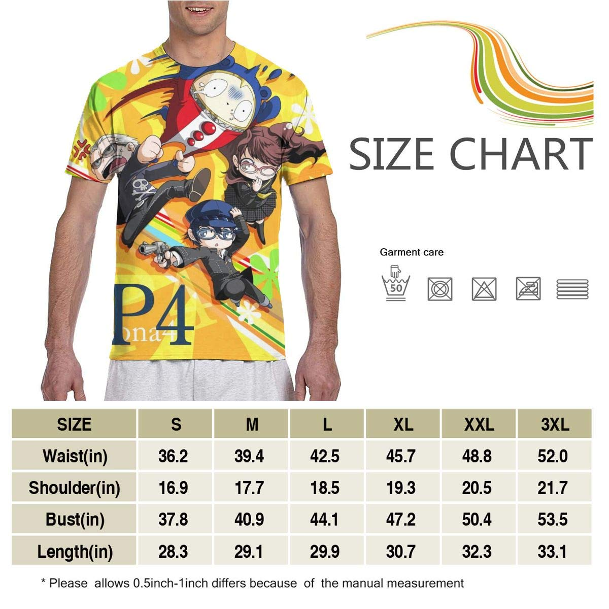Persona 4 Anime Men Two Side Print Polyester Short Sleeve Tee