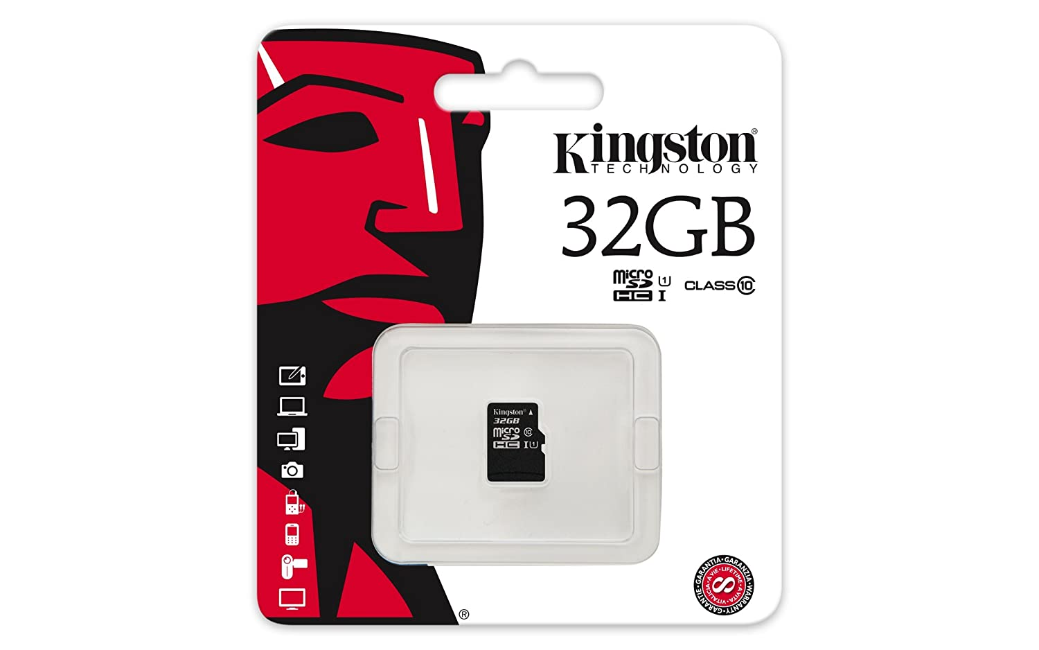 Kingston Digital 32GB Micro SDHC UHS-I Class 10 Industrial Temp Card (SDCIT/32GBSP)