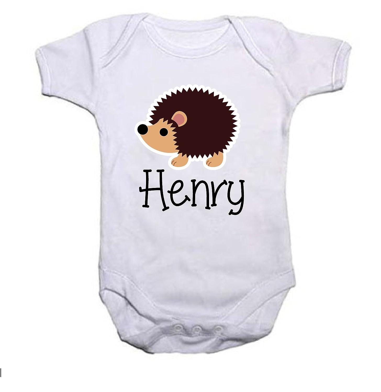 ceef36615 Pretty Little Stickers Personalised Hedgehog Baby Grow Vest  Amazon ...